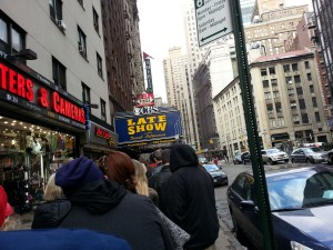 Waiting to go into the Late Show